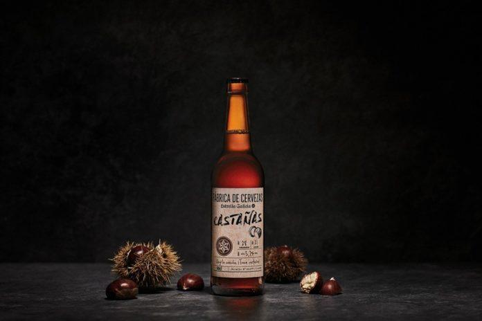 Botella da cervexa de castañas creada por Estrella Galicia.