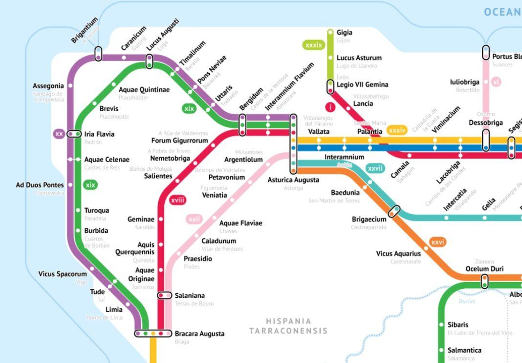 Vista da Gallaecia segundo un deseño de mapa de metro. Fonte: Sasha Trubetskoy.
