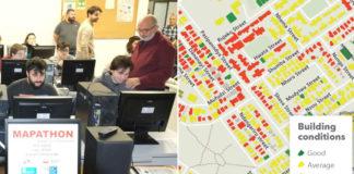 Imaxe do mapatón celebrado en Santiago e exemplo de mapa editado desde a plataforma Missing Maps.
