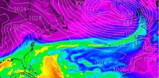 Imaxe de radar do río atmosférico, que cruza o Atlántico desde o Caribe a Galicia. Fonte: MeteoGalicia.