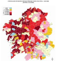 Mapa de niños en cada un dos concellos onde se detectou a 'Vespa velutina'. Fonte: Medio Rural.