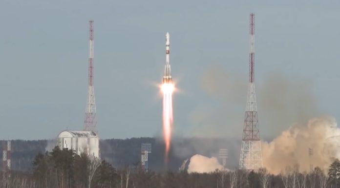 Momento de saída cara ao espazo do foguete Soyuz. Fonte: Roscosmos.