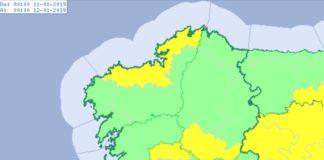 Mapa de aviso polo frío para este venres. Fonte: Aemet.