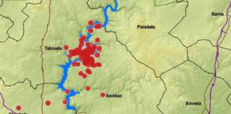 En vermello, terremotos rexistrados na zona do encoro de Belesar, segundo datos do Instituto Geográfico nacional. Fonte: xunta.gal/IGN/Elaboración propia.