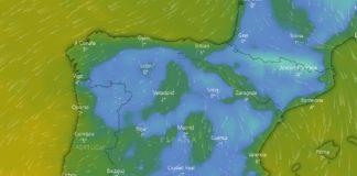 Predición de temperaturas mínimas para a madrugada do xoves ao venres debido ao aire ártico. Fonte: Windy.com.