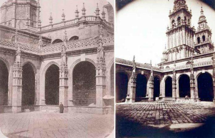 Dúas vistas do claustro da catedral, por Cisneros, ca. 1858 (Cabo e Costa, 1991: p. 60, á esquerda; e poxa de 17/11/2013 de Ader Nordmann dos fondos fotográficos do Institut Catholique de Paris, á dereita).