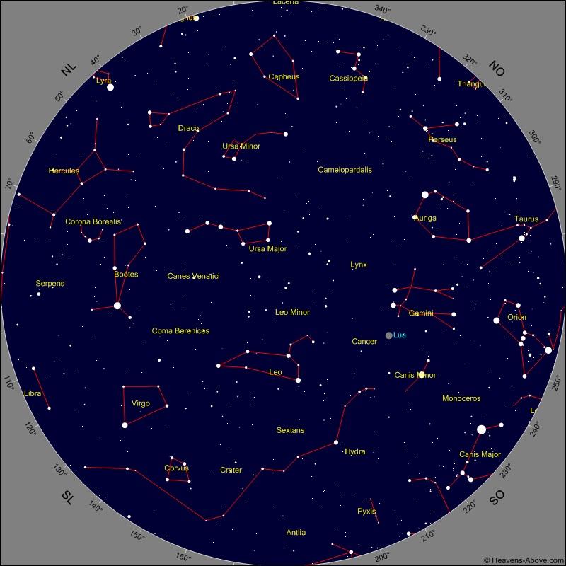 Situación da Lúa, entre Leo e Xéminis, ao comezo da eclipse do luns. Fonte: Heavens Above.