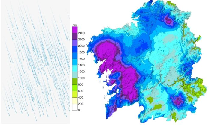 As estatísticas anuais de precipitacións corroboran o Efecto Rías nestas zonas de Galicia. Fonte: MeteoGalicia.