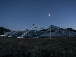 Instalacións do radiotelescopio CHIME, onde se detectou a sinal extragaláctica. Fonte: Andre Renard.
