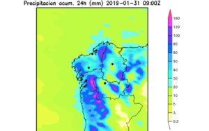 Acumulado de chuvia de cara ao xoves, despois do paso de Gabriel e outra borrasca por Galicia. Fonte: MeteoGalicia.