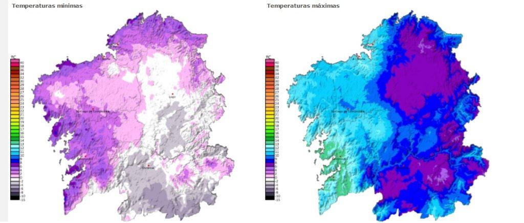 Previsión de temperaturas mínimas e máximas para o venres en Galicia. Fonte: MeteoGalicia.