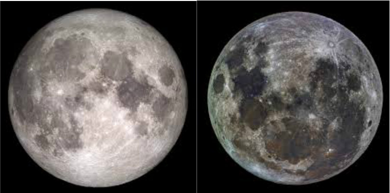 Lúa desde o hemisferio norte (esquerda) e o sur (dereita).