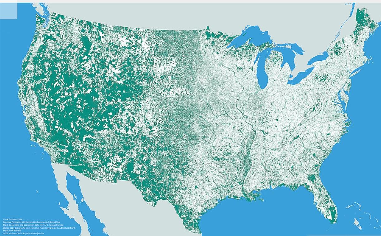 """""""Nobody lives here"""", mapa realizado en 2014 por Nik Freeman. Nas zonas verdes non vive ninguén."""