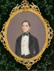 Único retrato pictórico en miniatura coñecido de Andrés Cisneros , ca. 1855 (Espinosa, 2011; Museo do Prado, Madrid)