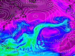 Imaxe da humidade que trae consigo o río atmosférico que cruza o Atlántico. Fonte: MeteoGalicia.