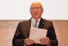 Miguel Ángel Ríos, nun acto durante a súa presidencia da Real Academia Galega de Ciencias. Fonte: RAGC.