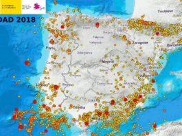 Mapa de sismos do 2018 en Galicia. Fonte: IGN.