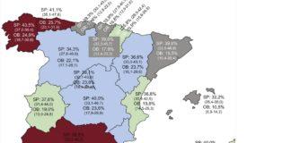 Mapa da prevalencia de obesidade en poboación adulta (25-64 anos) en España. Tasas ajustadas por edad. Entre paréntese, intervalo de confianza do 95%.OB: obesidad; SP: sobrepeso. Fonte: Revista Española de Cardioloxía.