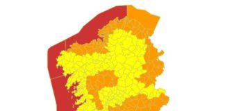 Niveis de aviso para o venres debido á chegada de Helena. Fonte: MeteoGalicia.