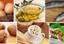 Ovos, aceite de oliva, peixe azul, froitos secos, cereais e verdura son algúns exemplos de alimentos ricos en vitamina E.
