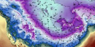 Previsión das temperaturas (en grados Fahrenheit) causadas pola chegada do vórtice polar a Estados Unidos. Fonte: Pivotal Weather.