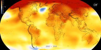 Aumento da temperatura respecto á media no período 2014-2018. Fonte: NASA.