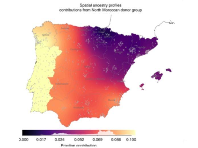 Contribución do grupo africano (Marrocos) na ascendencia xenética das rexións de España. Fonte: Nature Communications.