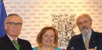 Antonio de Ron, Rosa Menéndez e Eduardo Pardo de Guevara. Foto: CSIC.