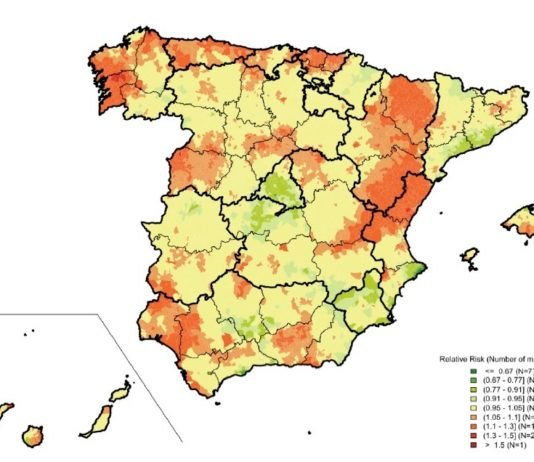 Risco relativo de mortalidade por cancro de próstata en España entre 2010 e 2014. Fonte: L. Rodriguez-Sanchez, B. Perez-Gomez et al. / Plos One.
