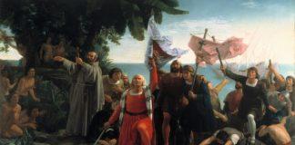 Primeiro desembarco de Cristóbal Colón en América, punto de partida da colonización. Óleo de Dióscoro Puebla exposto no Museo del Prado.