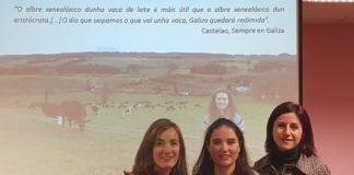 Ruth Rodríguez Bermúndez, entre Marta Miranda e Marta López, na Facultade de Veterinaria de Lugo. Fonte: USC.