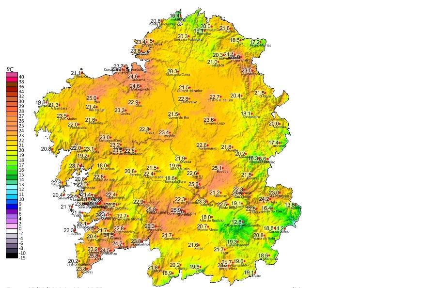 Mapa de temperaturas máximas do luns en Galicia. Fonte; MeteoGalicia.