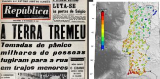 "Portada do xornal ""República"" e mapa de intensidades do sismo de 1969. Fonte: IPMA."