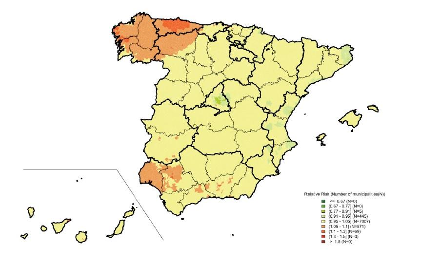 Risco relativo de mortalidade por cancro de próstata en España entre 2010 e 2014 para menores de 65 anos. Fonte: L. Rodriguez-Sanchez, B. Perez-Gomez et al. / Plos One.