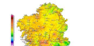 Mapa de máximas hoxe, co récord en febreiro no val do Miño en Ourense e outros puntos. Fonte: MeteoGalicia.