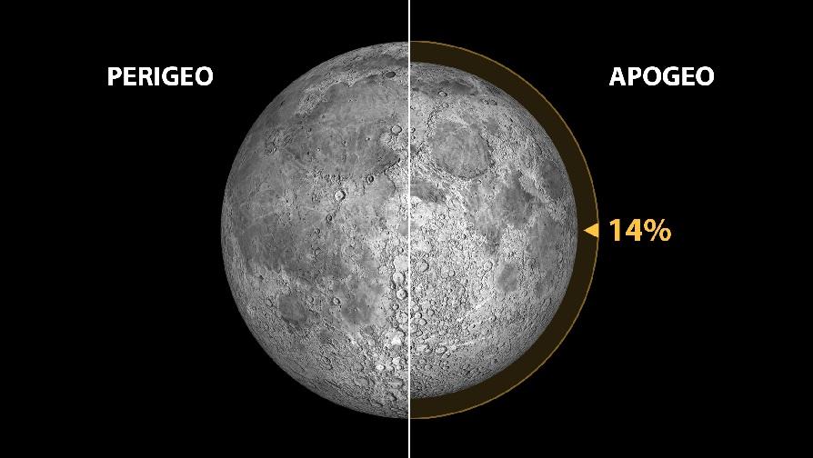 Mínimo perixeo lunar (distancia Terra-Lúa=356.355 km; tamaño aparente da Lúa=33,5 minutos de arco) e máximo apoxeo (distancia Terra-Lúa=406.725 km; tamaño aparente da Lúa=29,4 minutos de arco) no período que vai desde os anos -1999 a 3000. A diferenza de tamaños aparentes (desde a Terra) é dun 14%. Ilustración: Gabriel Pérez Díaz, SMM (IAC). Fonte: Fred Espenak @ astropixels.com.
