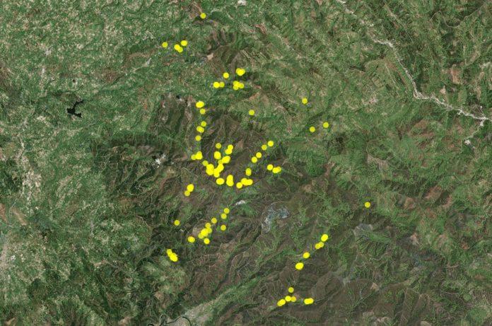 Mapa das 192 abellarizas localizadas no Courel. Fonte: Fundación Oso Pardo.
