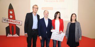 De esquerda a dereita: Juan González Pérez, alcalde de Nigrán; David Regades, delegado do Estado na Zona Franca de Vigo; Bibiana Rodiño, directora xeral de BETA Implant; e Patricia Argerey, directora de GAIN. Foto: ViaGalicia.