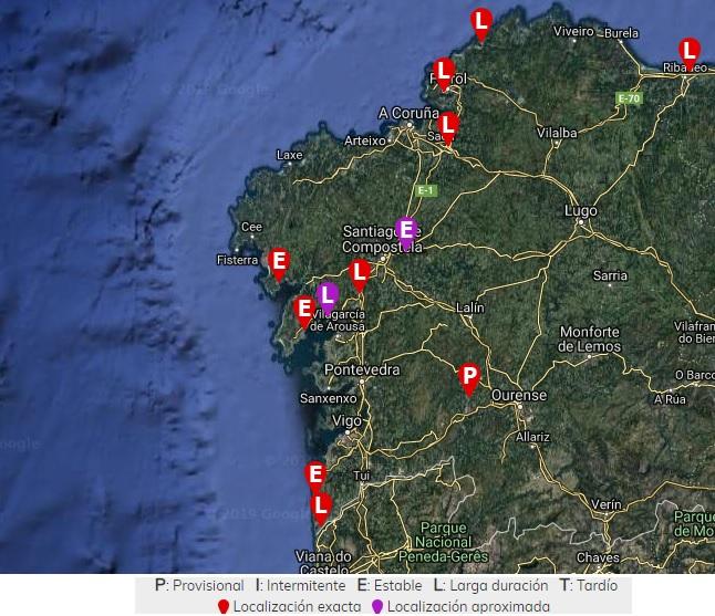 Mapa dos campos de concentración en galicia, xunto ao de castropol (asturias). fonte: loscamposdeconcentraciondefranco.es.