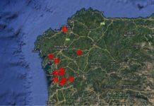 Mapa da deseucaliptización simultánea prevista en Galicia. Fonte: Cousa de Raíces.