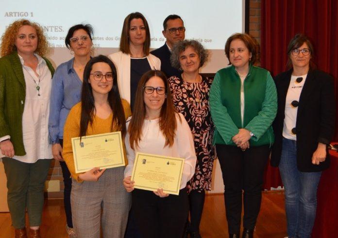 Cristina Vila e Gabriela del Valle, xunto a outras autoridades no acto de entrega dos premios Enxeñaría e Muller Rural. Foto: USC.