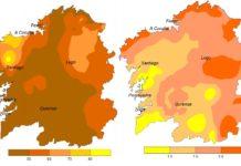 Mapas da porcentaxe de chuvia en febreiro respecto aos valores medios (esquerda) e anomalía de temperatura. Fonte: Aemet.