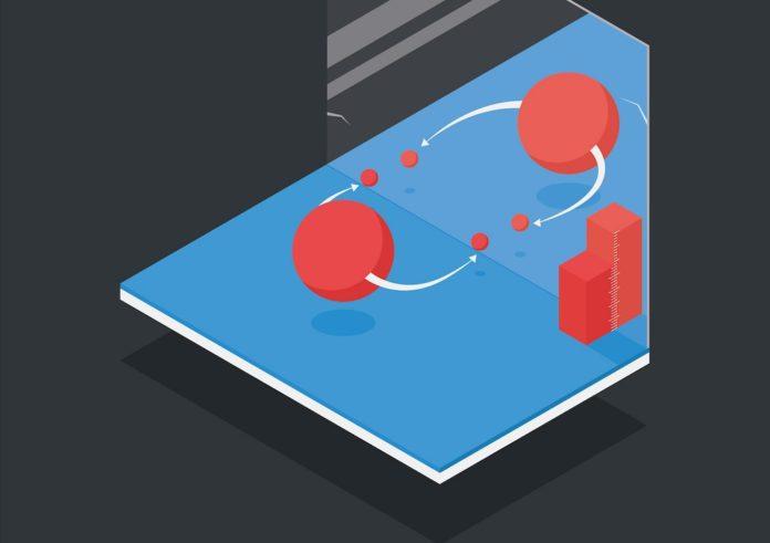 Representación da asimetría detectada polos físicos de partículas. Fonte: CERN.