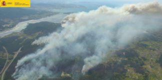 Imaxe aérea do incendio de Rianxo e Dodro. Fonte: Ministerio de Agricultura, Pesca e Medio Ambiente.
