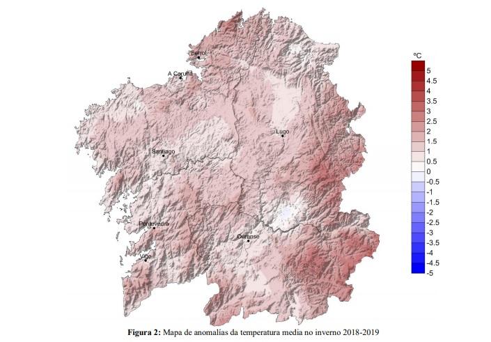 O inverno foi ata 3ºC máis cálido na montaña de Lugo e Ourense. Fonte: MeteoGalicia.