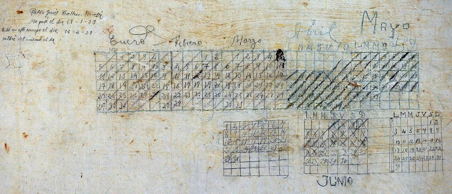 Calendario realizado por un dos presos de oia. fonte: imaxe publicada por carlos méixome no seu blog pé do galiñeiro.