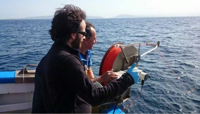 Víctor Moreira, primeiro autor do artigo, a bordo do BIO Lura do Instituto Español de Oceanografía durante unha das saídas do proxecto Nicanor na parte externa da ría da Coruña. Foto: Duvi.