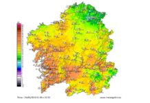 Mapa de temperaturas máximas. Fonte: MeteoGalicia.