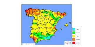 Mapa de risco de incendios para este martes. Fonte: AEMET.