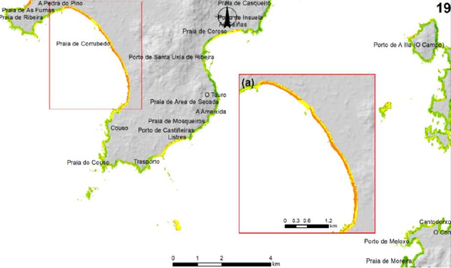 Exemplo do índice elaborado por Augusto Pérez Alberti e Alejandro Gómez Pazo. Fonte: Vulnerabilidade das costas de Galicia ante temporais mariños no contexto do cambio global.